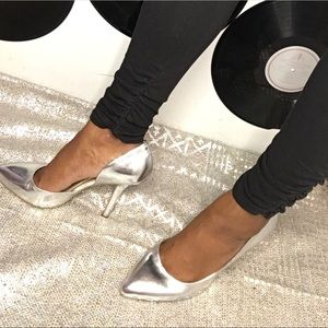 BCBG Silver Metallic Pointed Toe Stilettos